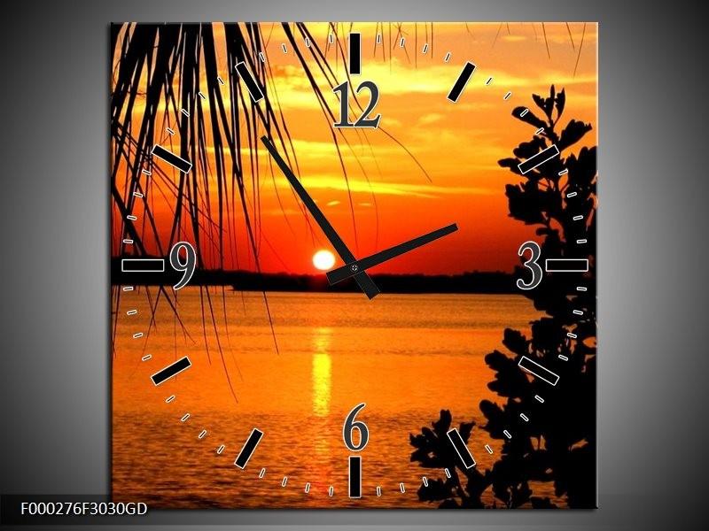 Wandklok op Glas Zonsondergang | Kleur: Oranje, Geel, Bruin | F000276CGD