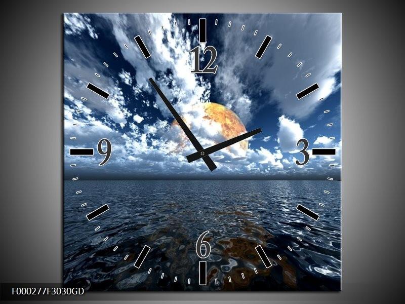 Wandklok op Glas Zee | Kleur: Blauw, Wit, Grijs | F000277CGD