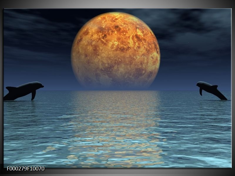 Glas schilderij Maan   Geel, Blauw, Zwart