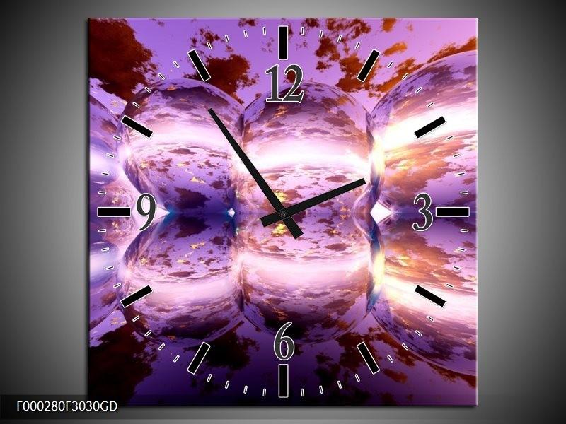 Wandklok op Glas Abstract   Kleur: Paars, Bruin, Wit   F000280CGD