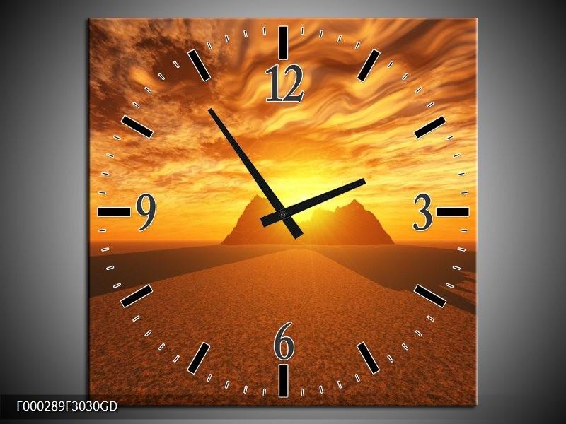Wandklok op Glas Zonsondergang   Kleur: Geel, Bruin, Goud   F000289CGD