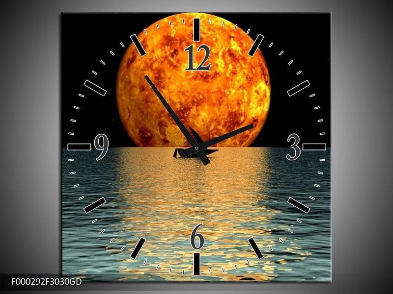 Wandklok op Glas Maan | Kleur: Oranje, Blauw, Zwart | F000292CGD