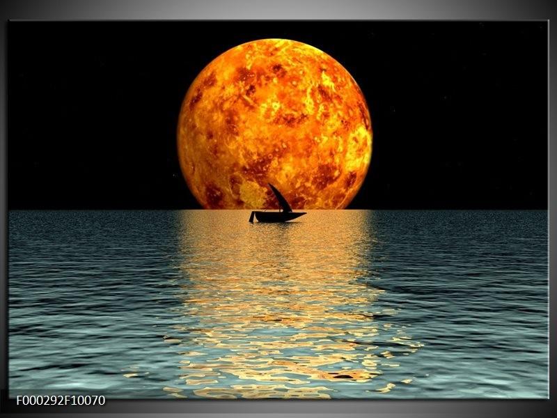 Glas schilderij Maan | Oranje, Blauw, Zwart