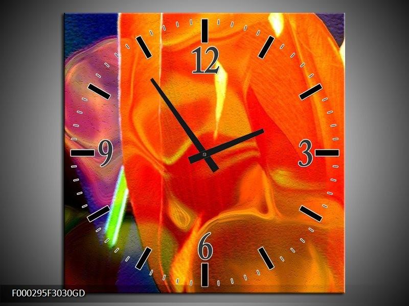 Wandklok op Glas Abstract | Kleur: Rood, Geel, Oranje | F000295CGD