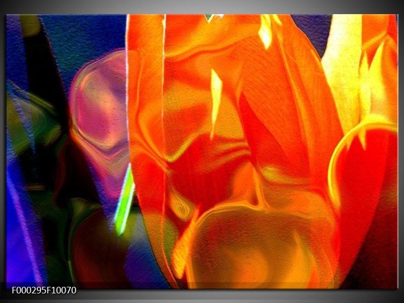 Glas schilderij Abstract   Rood, Geel, Oranje