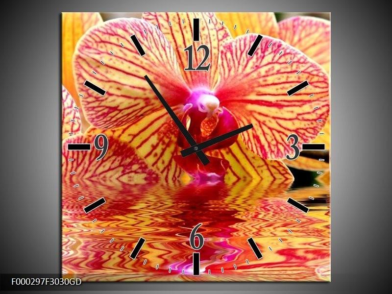 Wandklok op Glas Orchidee | Kleur: Geel, Rood, Wit | F000297CGD
