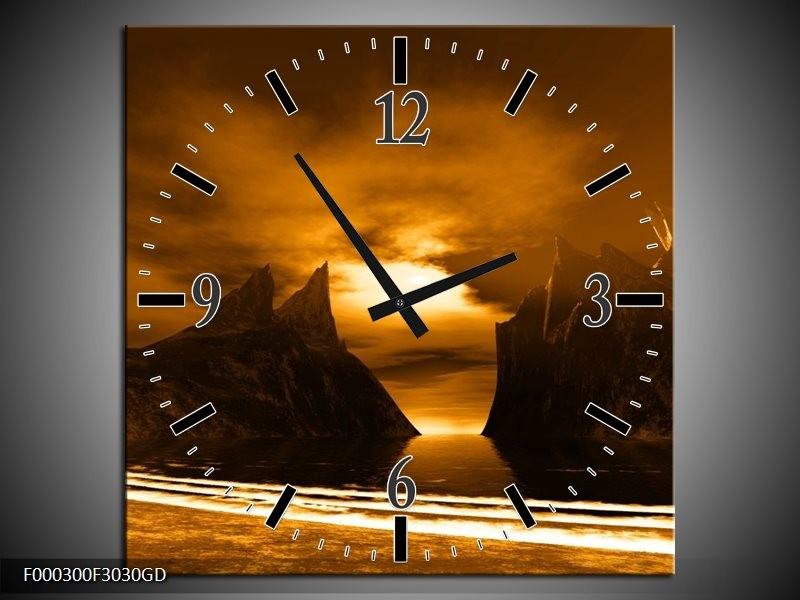 Wandklok op Glas Bergen | Kleur: Bruin, Wit, Geel | F000300CGD