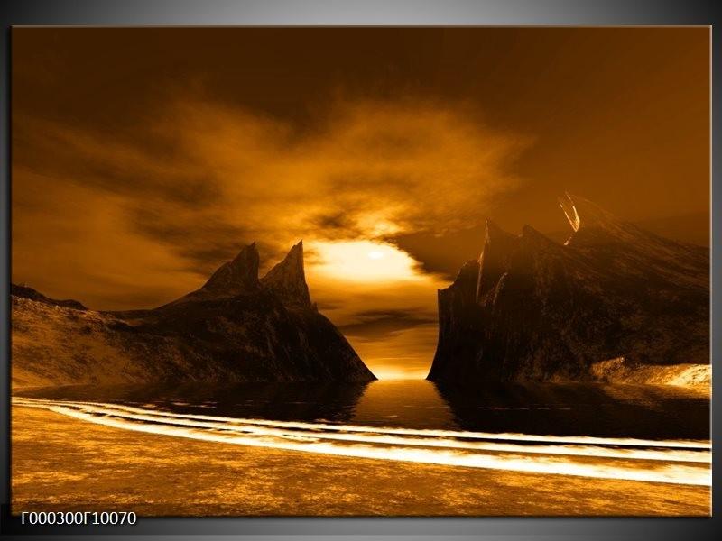 Glas schilderij Bergen   Bruin, Wit, Geel