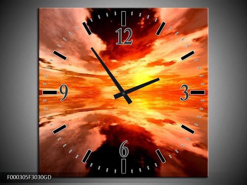 Wandklok op Glas Abstract | Kleur: Rood, Geel, Oranje | F000305CGD