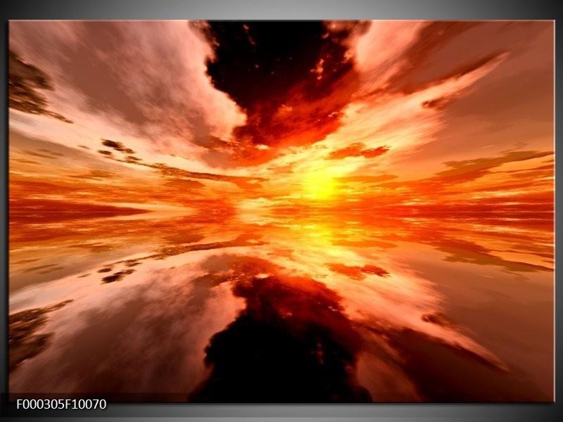 Glas schilderij Abstract | Rood, Geel, Oranje
