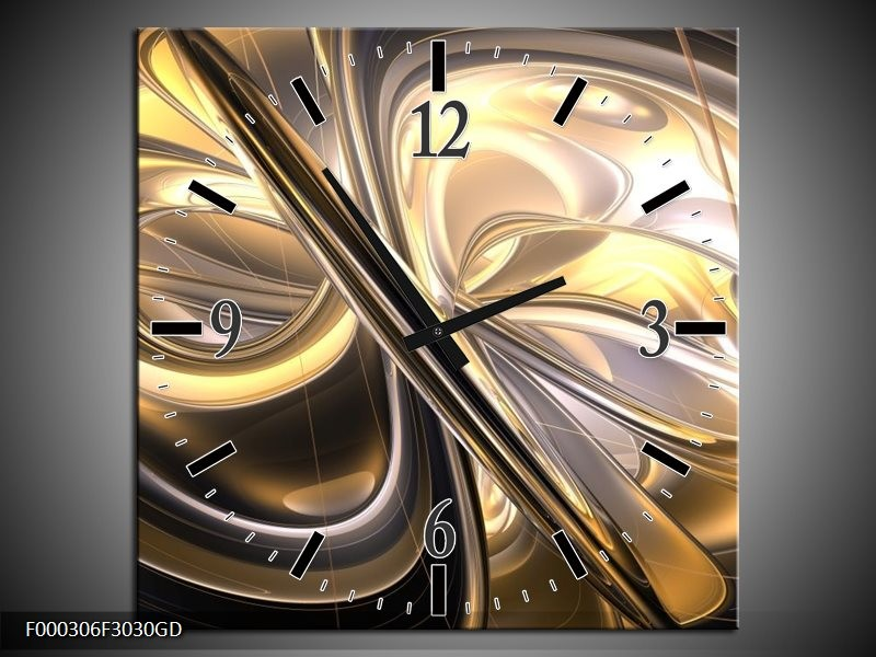 Wandklok op Glas Abstract | Kleur: Goud, Zilver, Geel | F000306CGD