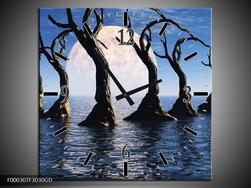 Wandklok op Glas Bomen | Kleur: Blauw, Wit, Grijs | F000307CGD