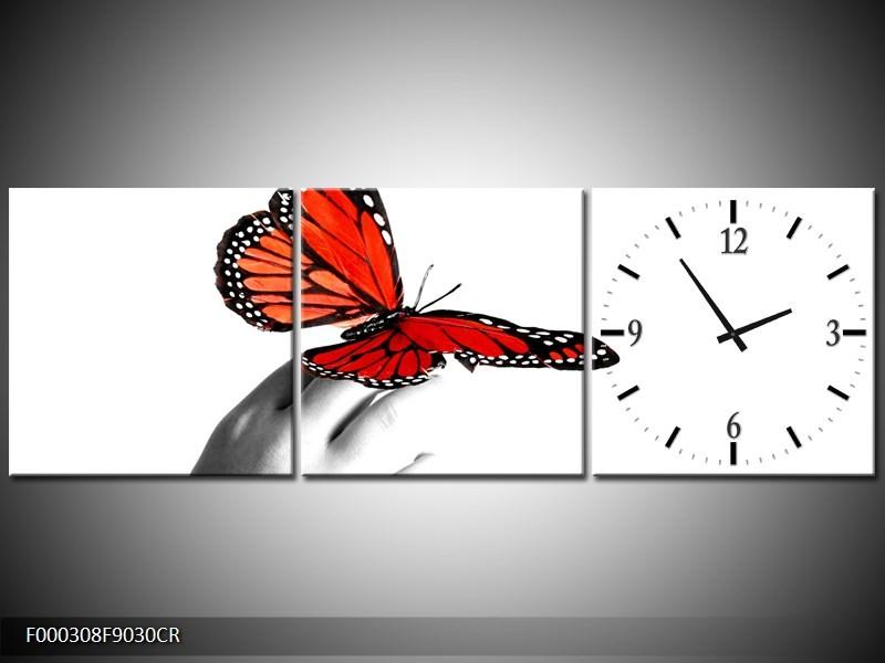 OP VOORRAAD Wandklok op Canvas Vlinder | 90x30cm | F000308C