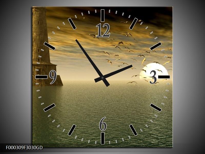 Wandklok op Glas Zonsondergang | Kleur: Grijs, Geel, Wit | F000309CGD