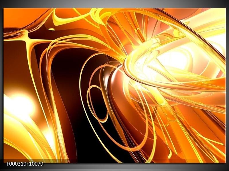 Glas schilderij Abstract | Geel, Goud, Bruin