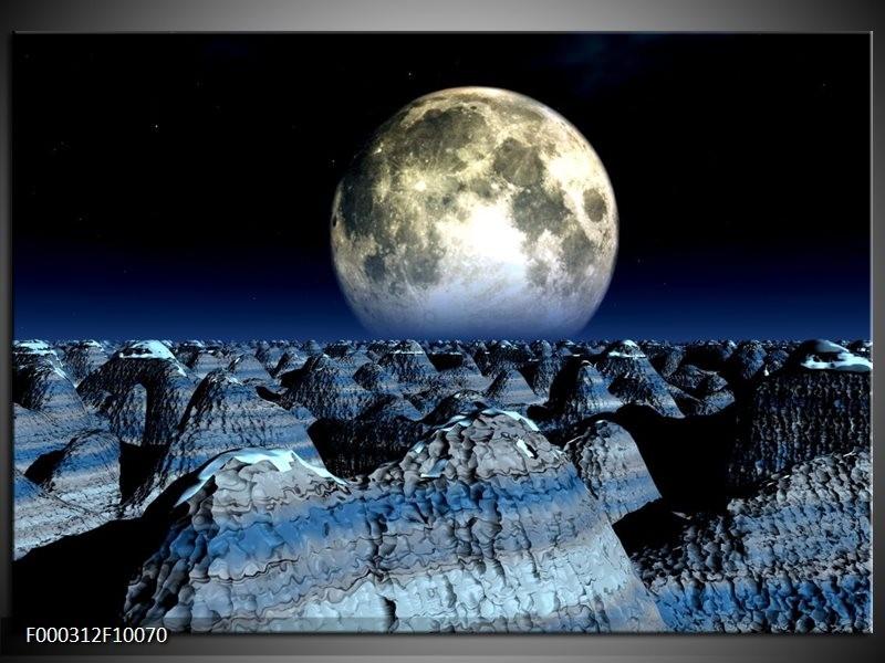 Glas schilderij Maan | Blauw, Grijs, Wit