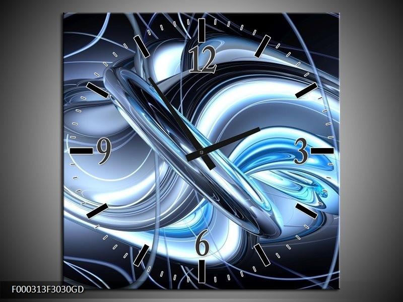 Wandklok op Glas Abstract | Kleur: Blauw, Grijs, Wit | F000313CGD