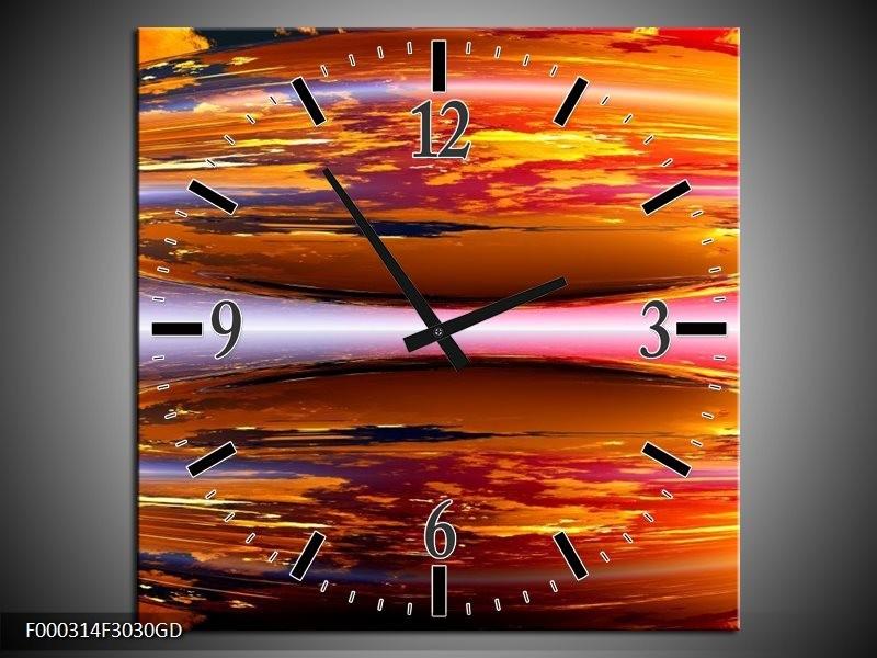 Wandklok op Glas Abstract | Kleur: Geel, Oranje, Rood | F000314CGD