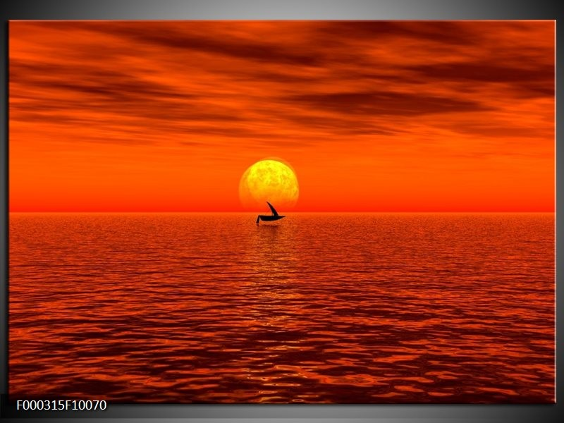 Glas schilderij Zonsondergang | Rood, Geel, Zwart
