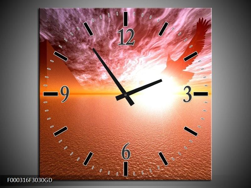 Wandklok op Glas Zonsondergang | Kleur: Geel, Wit, Oranje | F000316CGD