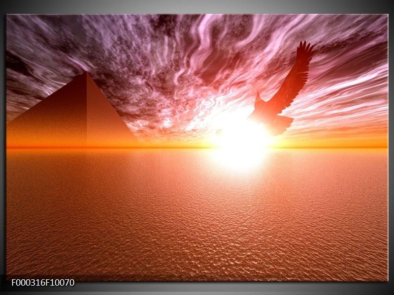 Glas schilderij Zonsondergang | Geel, Wit, Oranje