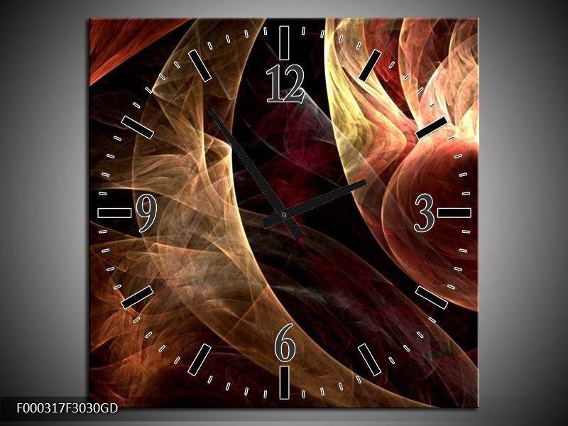 Wandklok op Glas Abstract | Kleur: Bruin, Zwart, Rood | F000317CGD