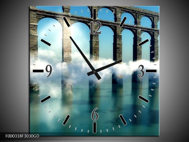 Wandklok op Glas Bruggen | Kleur: Blauw, Wit, Grijs | F000318CGD