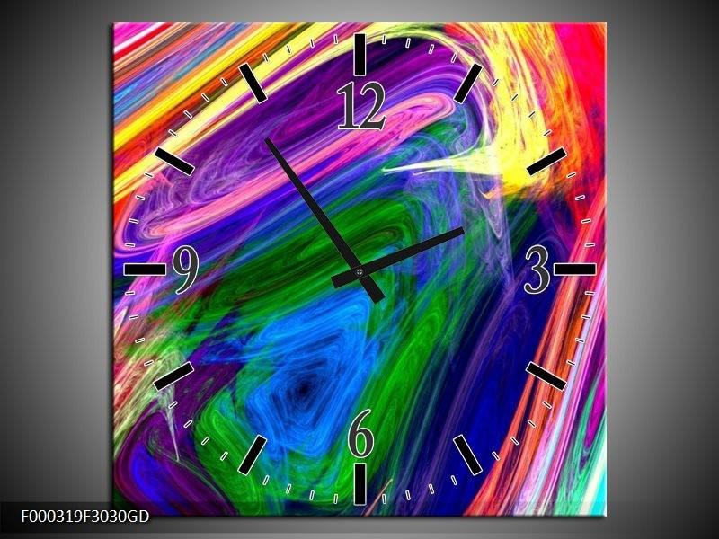 Wandklok op Glas Abstract | Kleur: Groen, Paars, Geel | F000319CGD