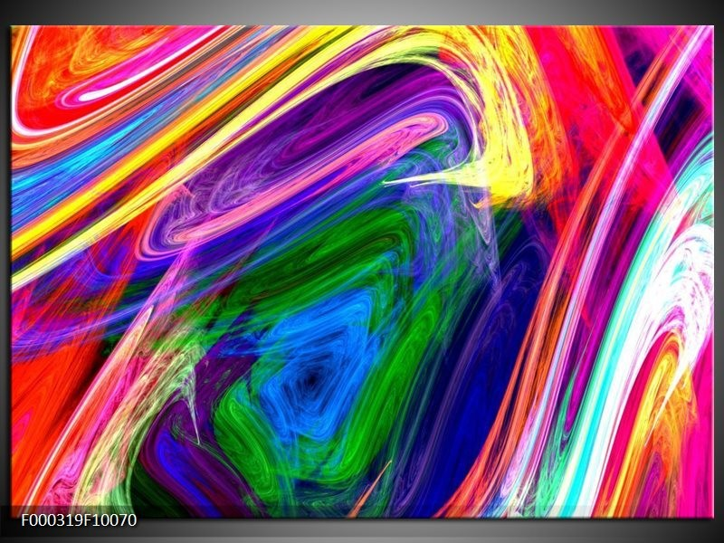 Glas schilderij Abstract | Groen, Paars, Geel