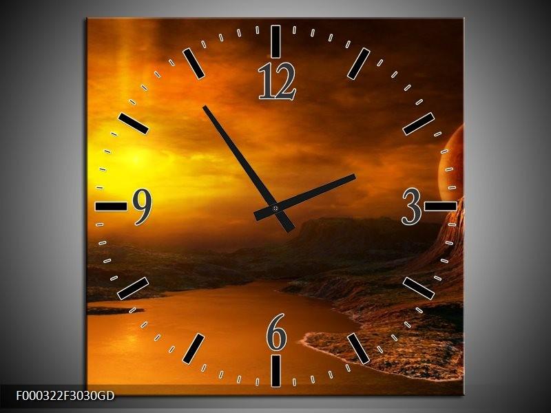 Wandklok op Glas Zonsondergang | Kleur: Geel, Bruin, Oranje | F000322CGD