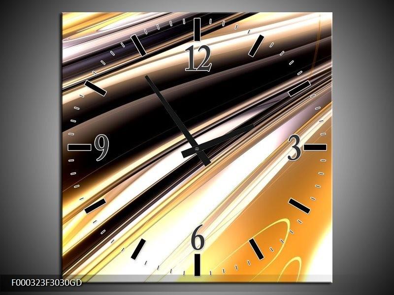 Wandklok op Glas Abstract | Kleur: Geel, Zilver, Zwart | F000323CGD