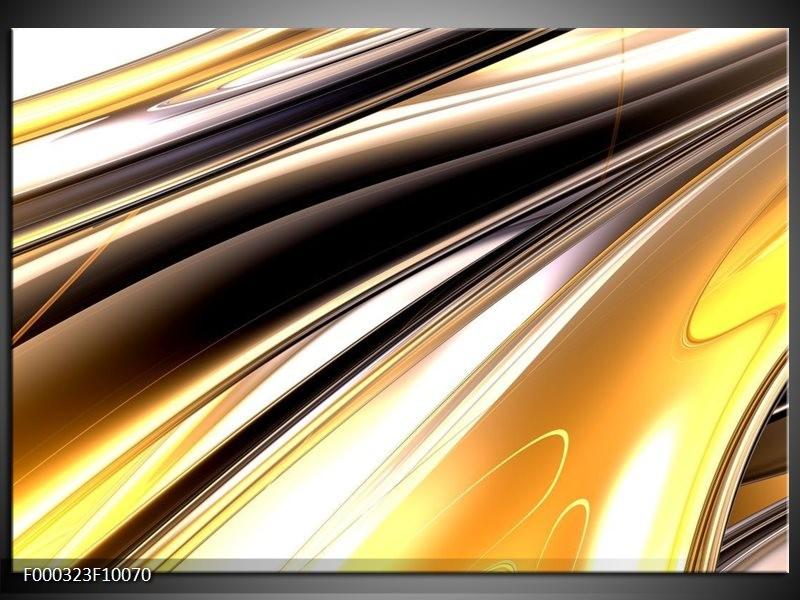Glas schilderij Abstract | Geel, Zilver, Zwart