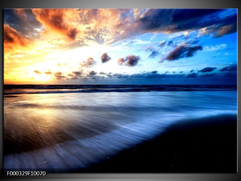 Glas schilderij Zee | Blauw, Geel, Zwart