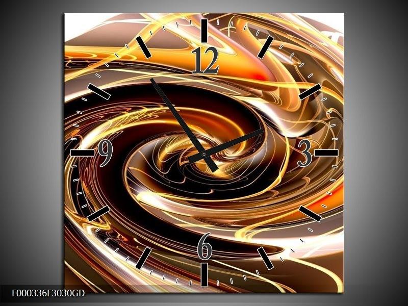 Wandklok op Glas Abstract | Kleur: Geel, Bruin, Zwart | F000336CGD