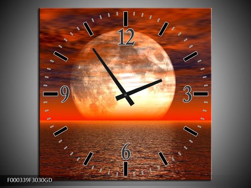 Wandklok op Glas Zonsondergang | Kleur: Rood, Geel, Wit | F000339CGD