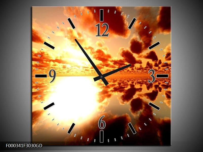 Wandklok op Glas Zonsondergang   Kleur: Geel, Rood, Bruin   F000341CGD