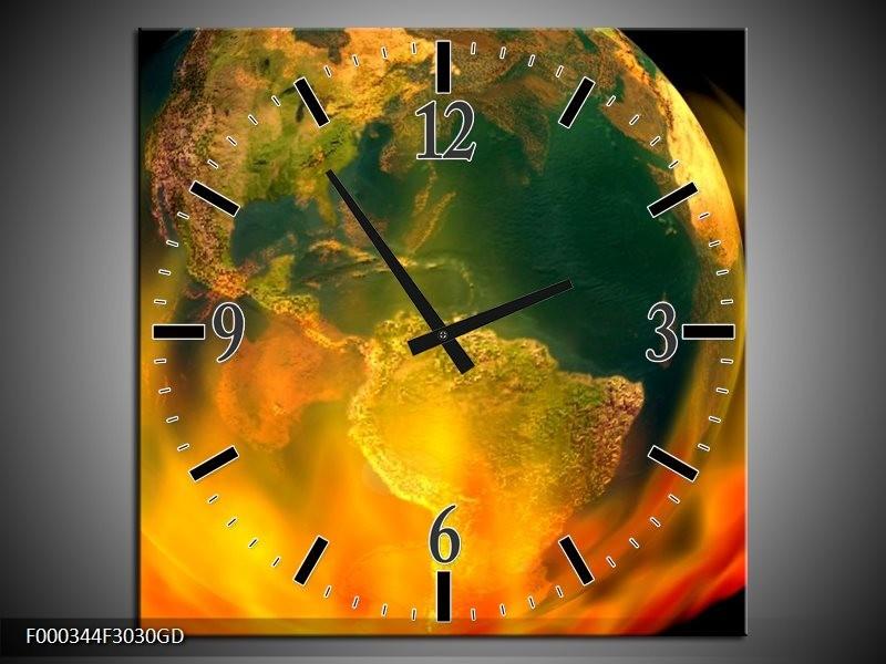 Wandklok op Glas Wereld | Kleur: Oranje, Geel, Groen | F000344CGD