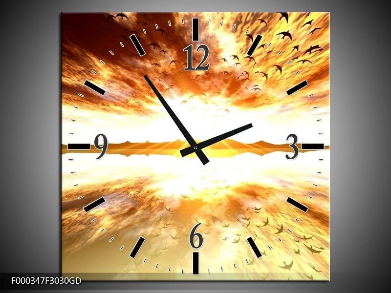 Wandklok op Glas Zonsondergang | Kleur: Geel, Wit, Grijs | F000347CGD