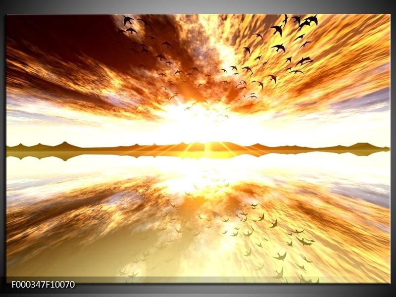 Glas schilderij Zonsondergang | Geel, Wit, Grijs