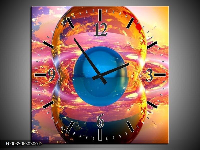 Wandklok op Glas Abstract | Kleur: Blauw, Geel, Oranje | F000350CGD