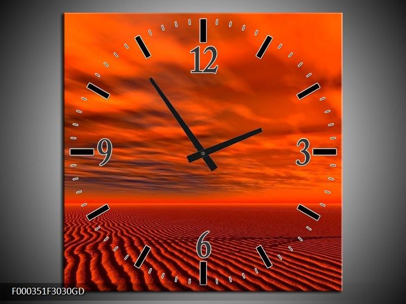 Wandklok op Glas Landschap | Kleur: Rood, Zwart, Oranje | F000351CGD