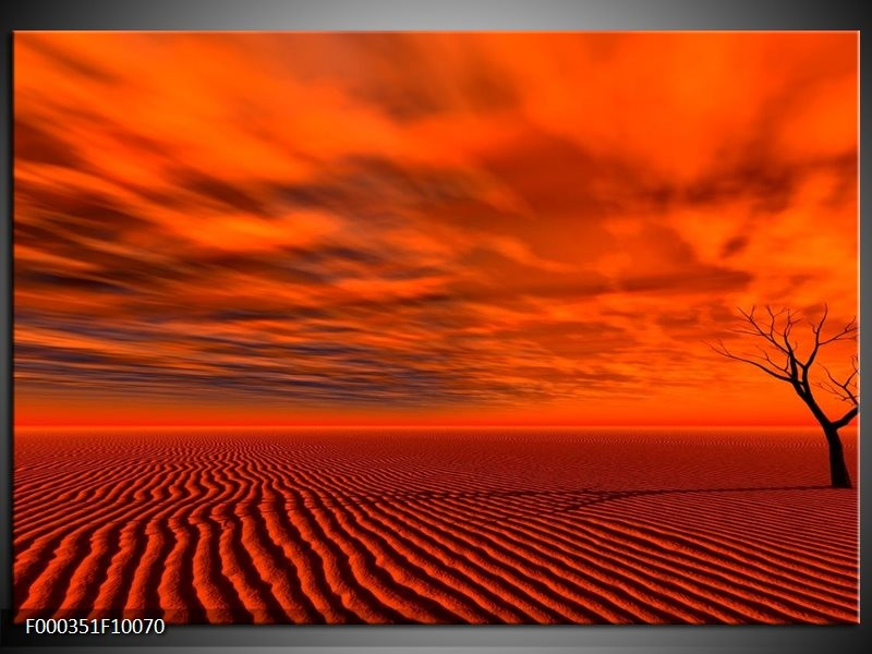 Glas schilderij Landschap | Rood, Zwart, Oranje