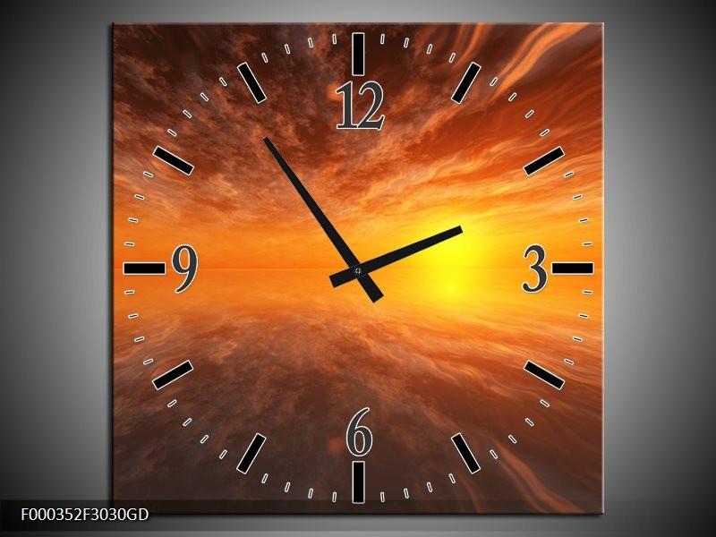 Wandklok op Glas Zonsondergang | Kleur: Geel, Oranje, Goud | F000352CGD