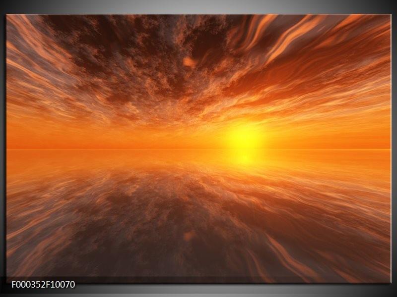 Glas schilderij Zonsondergang   Geel, Oranje, Goud