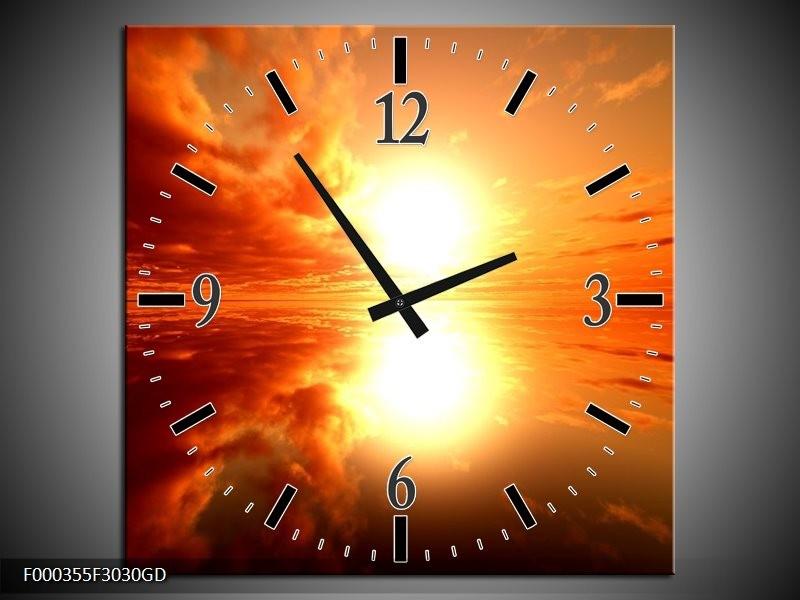 Wandklok op Glas Zonsondergang | Kleur: Geel, Rood, Oranje | F000355CGD