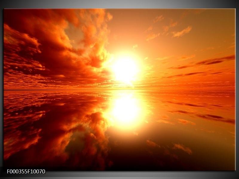 Glas schilderij Zonsondergang | Geel, Rood, Oranje