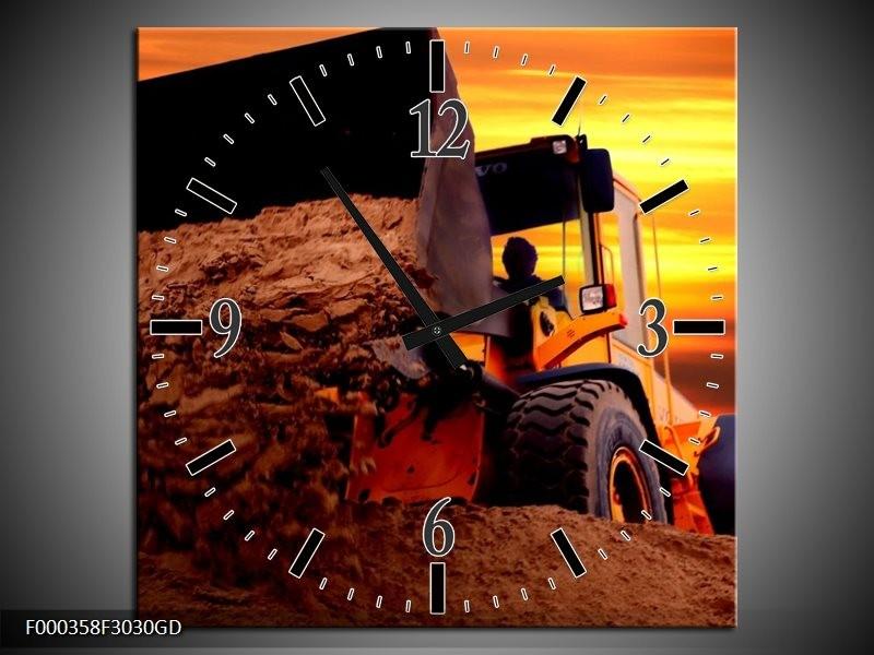 Wandklok op Glas Tractor   Kleur: Bruin, Geel, Oranje   F000358CGD