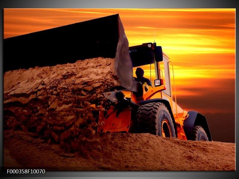 Glas schilderij Tractor | Bruin, Geel, Oranje