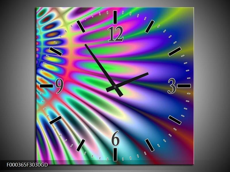 Wandklok op Glas Abstract | Kleur: Paars, Blauw, Groen | F000365CGD