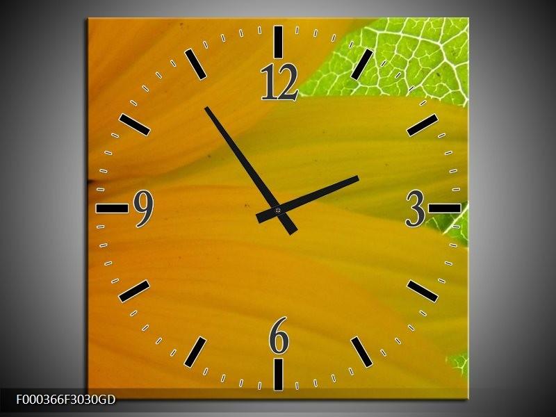 Wandklok op Glas Bloem | Kleur: Geel, Bruin, Groen | F000366CGD